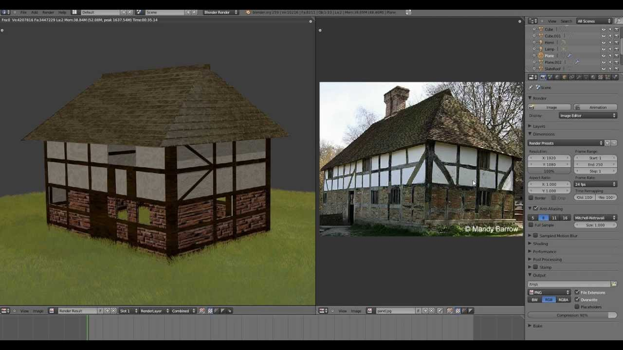 Blender 2 59 Tudor Style House Tutorial Modeling