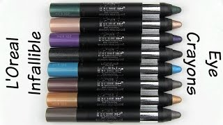 L'Oreal Infallible Eye Crayons: Live Swatches & Review Thumbnail
