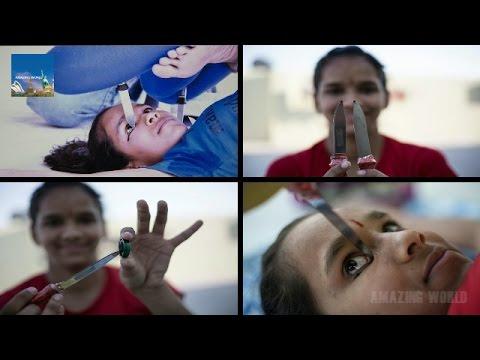TEENAGER USES YOGA SKILLS TO APPLY HER EYELINER WITH A KNIFE :  Anamika Kothari : Ajmer - Rajasthan