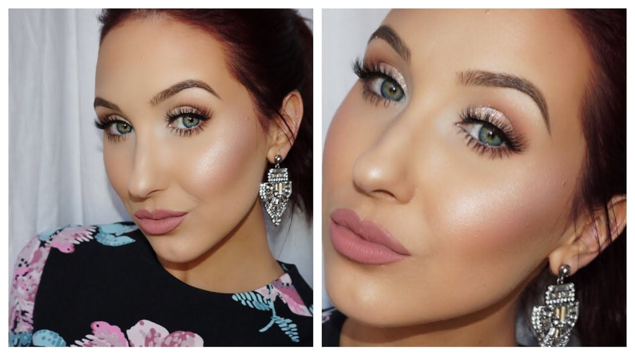 Valentines Day Makeup Look Girly Glitter Glam Youtube