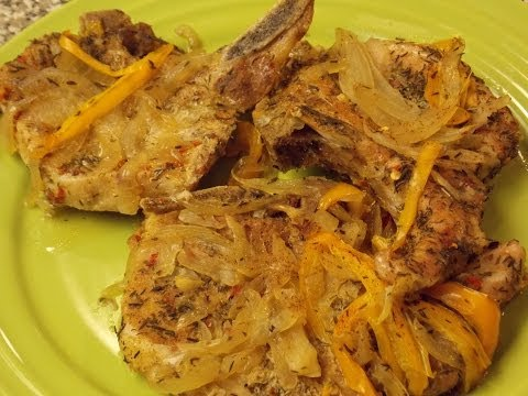 Baked Pork Chops With Peppers And Onions By TheHourGlassKitchen
