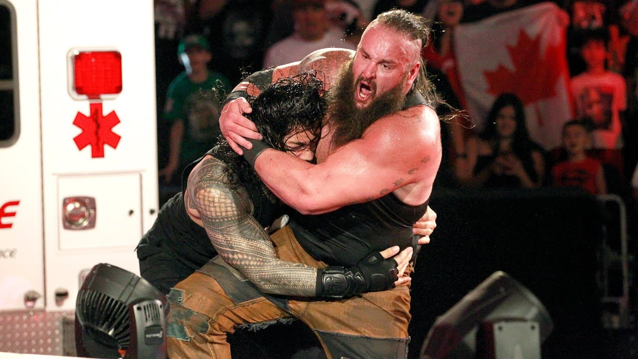 Watch unseen footage of Roman Reigns Spearing Braun Strowman off the Raw stage: July 5, 2017 - YouTube
