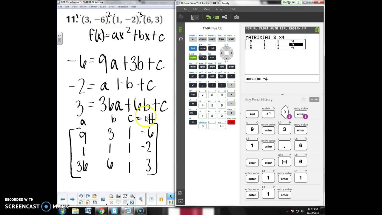 Finding the Equation of a Parabola using a Matrix on TI-84