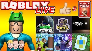 Roblox LIVE with Schlamaddy | 100 Likes = Robux Giveaway | You Pick a NEW Game Ever 10 minutes!
