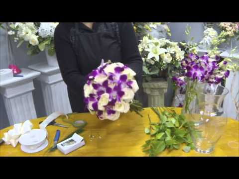 Как сделать свадебный букет из роз и орхидей