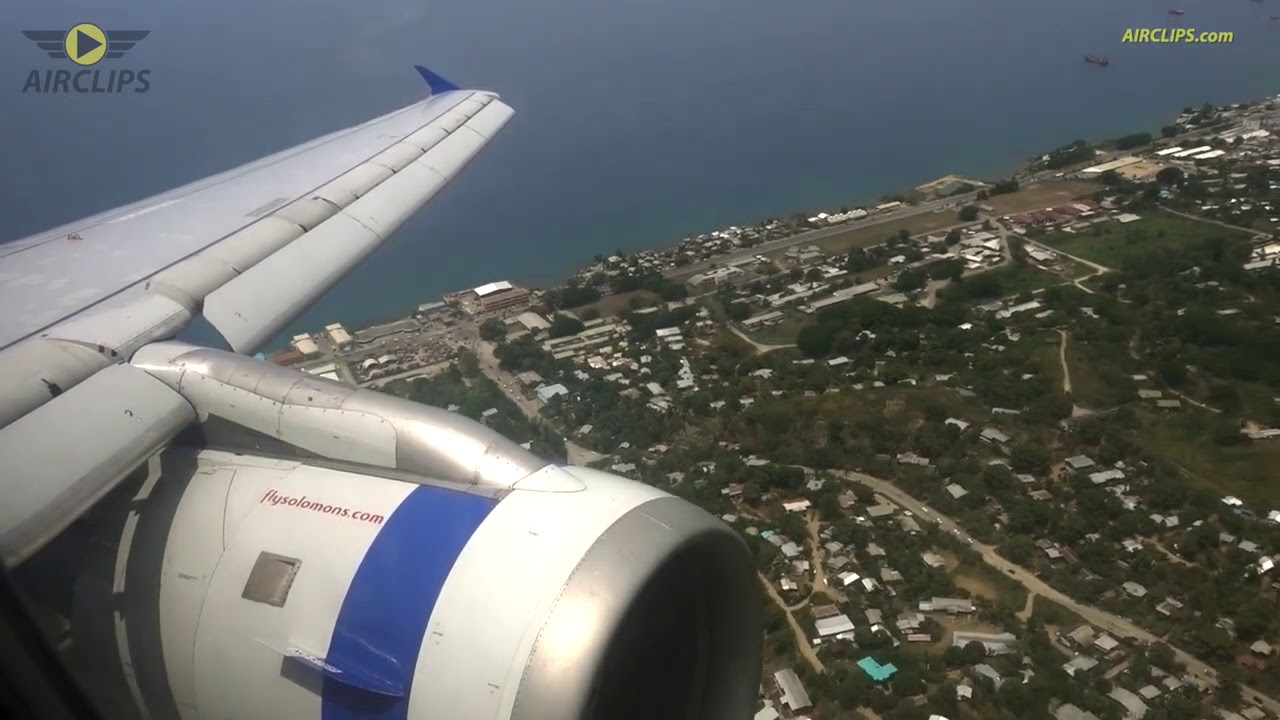 Download Exotic Solomon Islands! Solomon Airlines A320 Honiara Landing from Brisbane!  [AirClips]