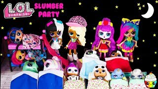 LOL House SLUMBER PARTY Big Sisters Babysitter Poopsie Sparkly Critters Sleepover Party