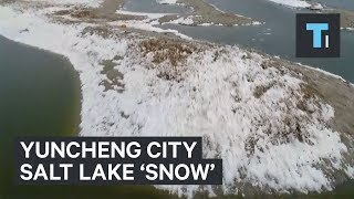 A peculiar phenomenon covered a Chinese lake with 'snow' in the middle of the summer