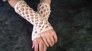 Crochet Fingerless Lace Gloves, Wristers, super easy