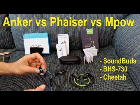 Anker SoundBuds Sport vs Phaiser Tecton (BHS-730) vs Mpow Cheetah - detailed