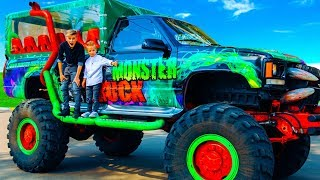 Here is a cool gift!!!Tisha rides on giant JEEP Monster TracK...