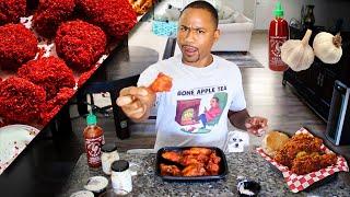 VERY SPICY Mukbang !! HOT Cheeto Wings   Spicy Garlic Tik Tok Recipe   KFC Nashville Fried Chicken