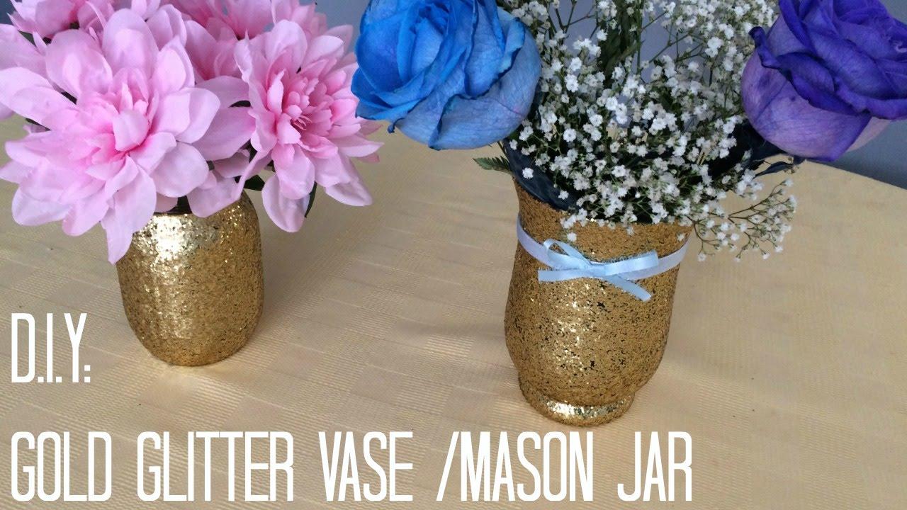 Diy gold glitter vase mason jar youtube reviewsmspy