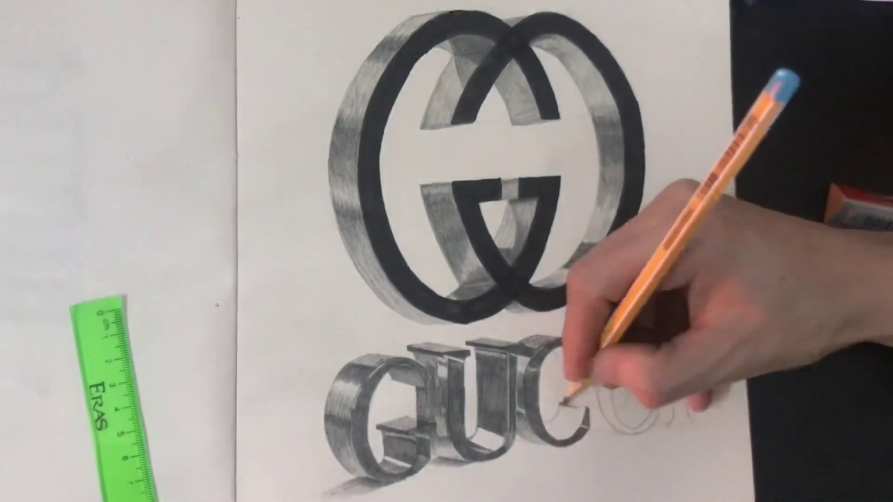 Vẽ logo 3D GUCCI , Drawing GUCCI 3d logo