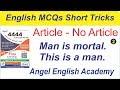 English MCQs Short Trick-62 'Article No article-2' | Angel English Acade...