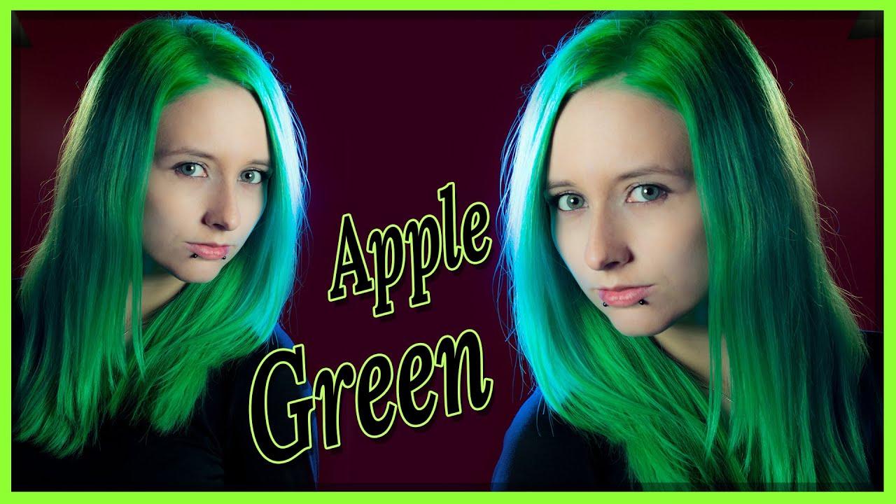 Apple Green Knallig Grune Haare Mit Directions Tutorial Youtube