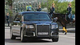 Путин идёт по коридору Кремля , а потом едет на инаугура́цию на  авто «Кортеж»