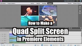 How to Make a Quad Split Screen | Adobe Premiere Elements Training #10 | VIDEOLANE.COM