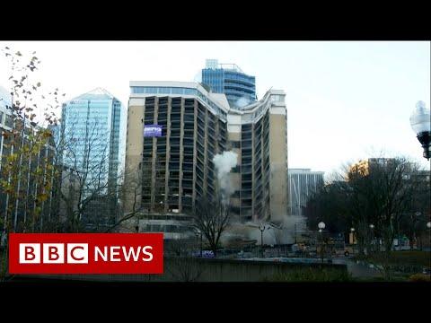 The moment landmark hotel demolished - …