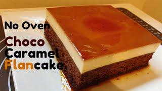 No Oven Caramel Pudding with Chocolate Cake 焦糖布丁巧克力蛋糕, Gato Caramel flan mềm mịn không dùng lò nướng