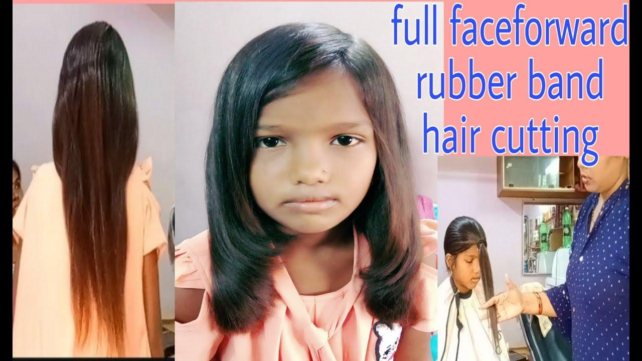 full face forward rubber band hair cutting/birthday special hair