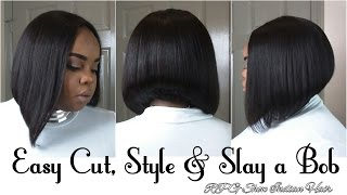 Bob Cut & Style Tutorial | Rpghair.com Indian Virgin Hair | 10 Steps in 20 Minutes