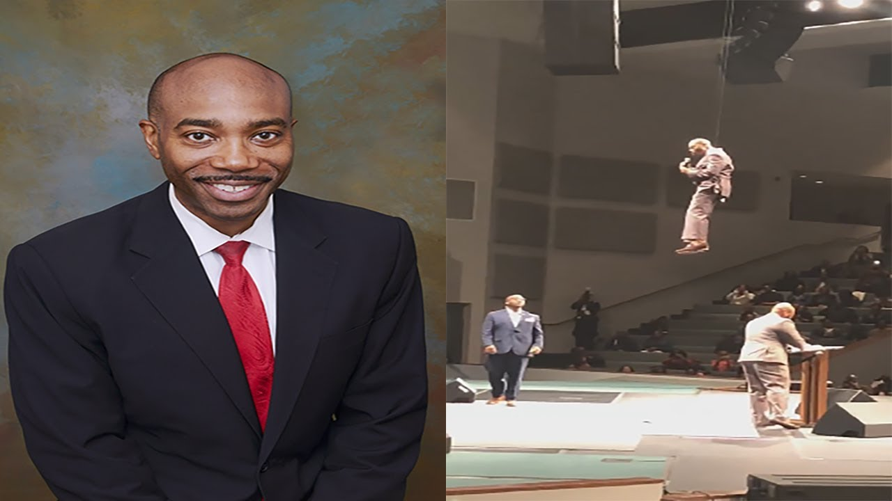 Preacher Floats Over His Congregation Then Placed At His Podium Before Preaching Sunday Message