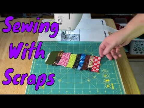 *Updated*  Sewing Fabric Scraps Onto Strips of Paper (calculator paper) Requested Video