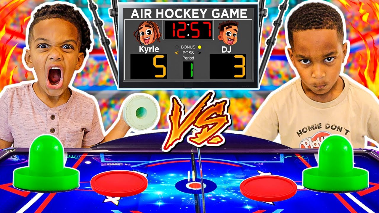 1 VS 1 AIR HOCKEY GAME DJ & KYRIE FACE TO FACE BATTLE | THE PRINCE FAMILY CLUBHOUSE