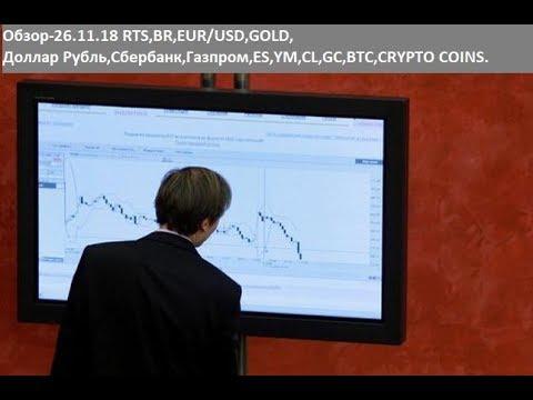 Обзор-26.11.18 RTS,BR,EUR/USD,GOLD, Доллар Рубль,Сбербанк,Газпром,ES,YM,CL,GC,BTC,CRYPTO COINS