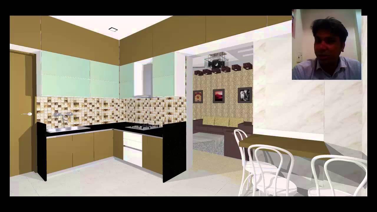 3d interior design of kitchen in thane near mumbai youtube for Interior decoration exhibition mumbai