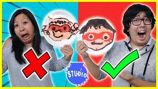 PANCAKE ART CHALLENGE! Learn How to Make Ryan ToysReview Superhero DIY Pancakes!