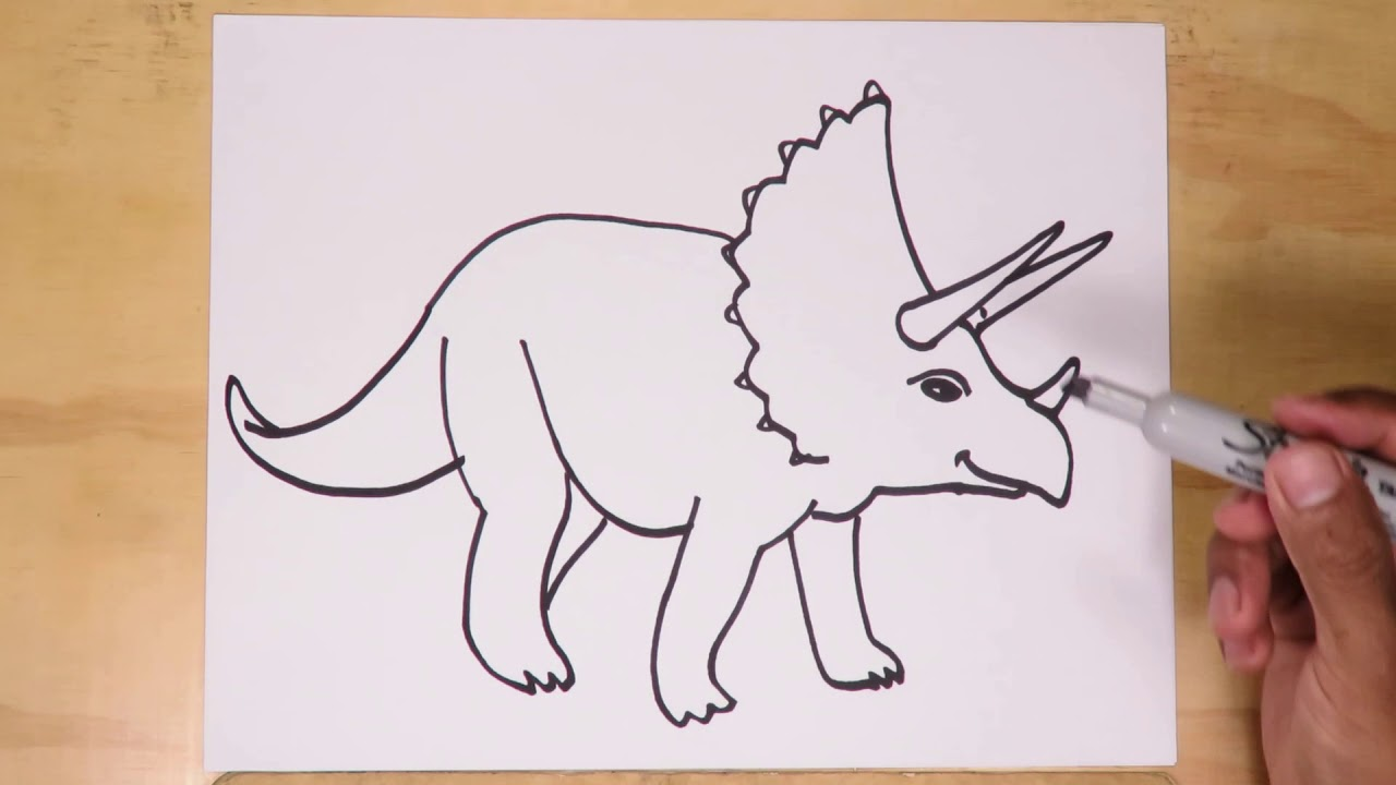 How to draw a Triceratops - Drawing dinosaurs - YouTube