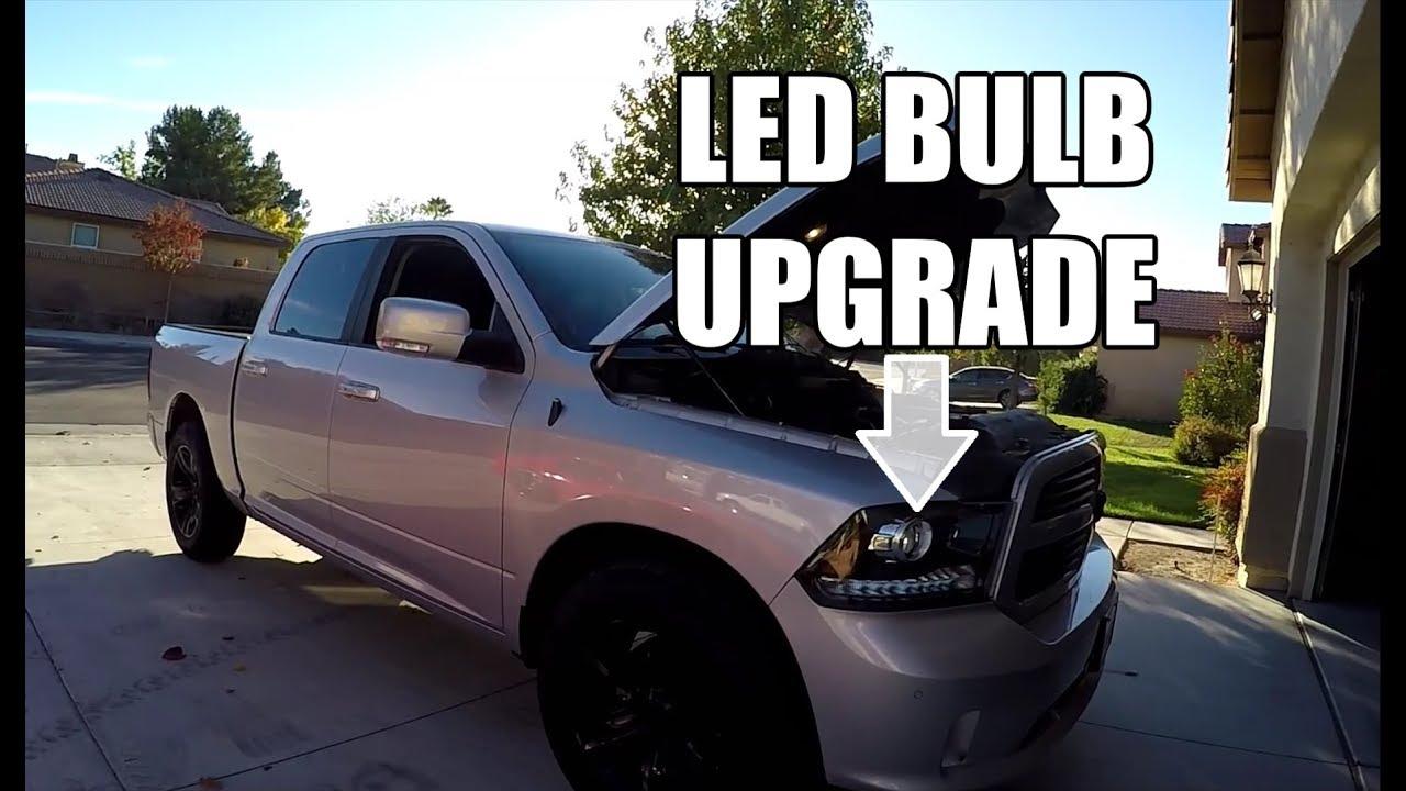 Dodge Ram Led Low Beam Projector Headlight Bulb Upgrade Youtube