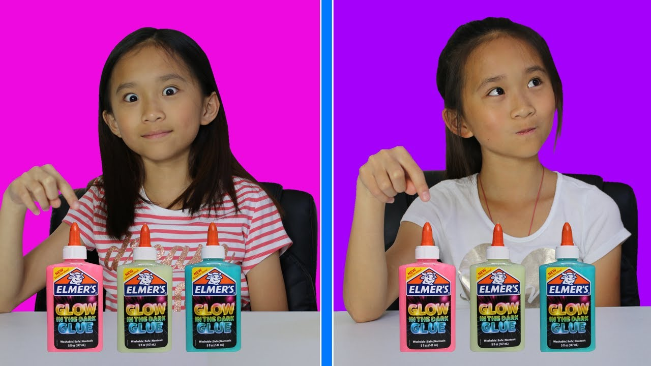 Twin Telepathy Glow In The Dark Slime Challenge Youtube