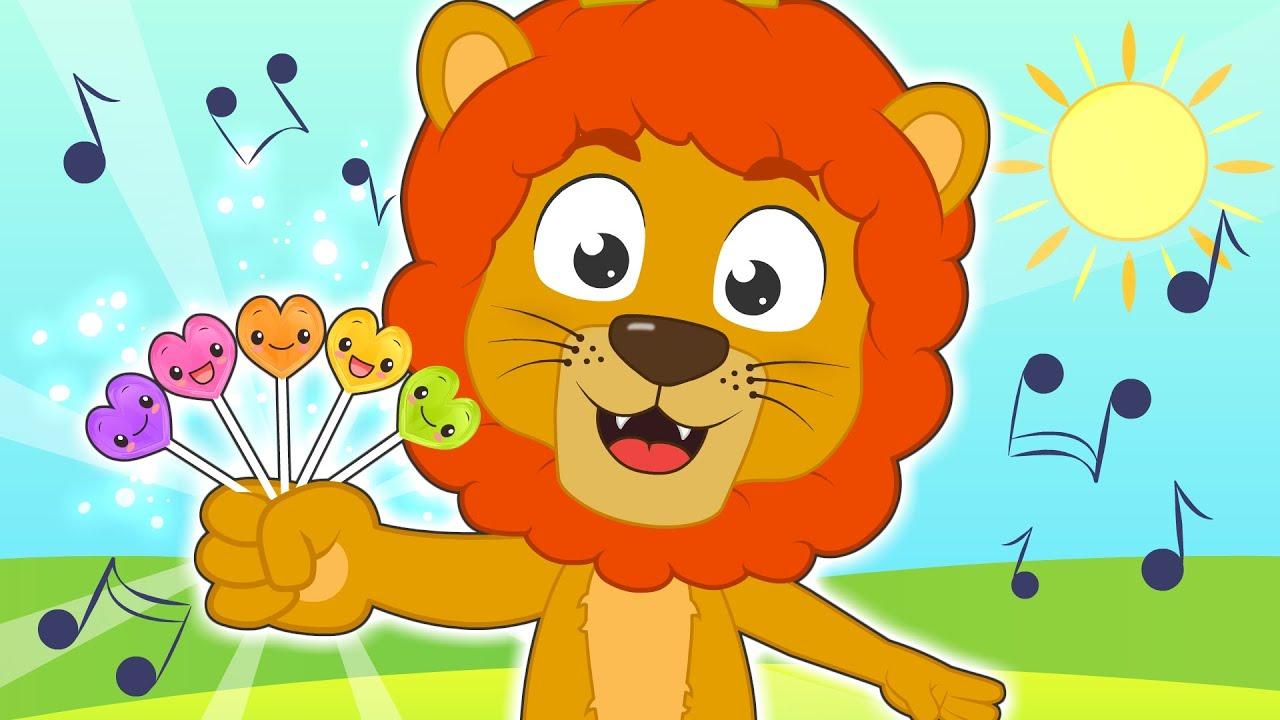 FAMILIA DEDO 🍭🦁 con el León y las piruletas de colores 🎤 Canciones para niños