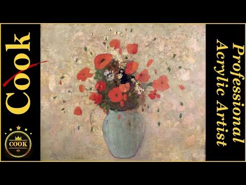 Vase of Poppies by Odilon Redon for Beginner Acrylic Artists