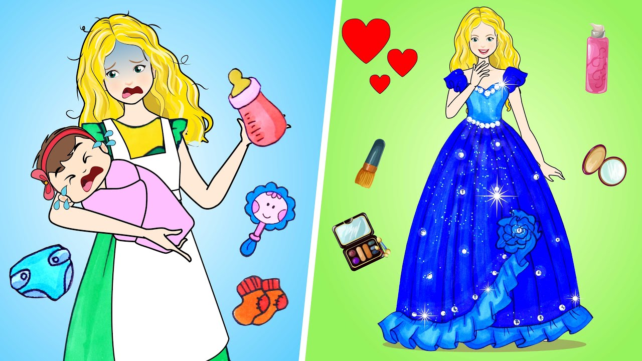 [DIY] Paper Dolls Baby Hard Working OR Much Money ? Very Beautiful Dresses Handmade Papercrafts