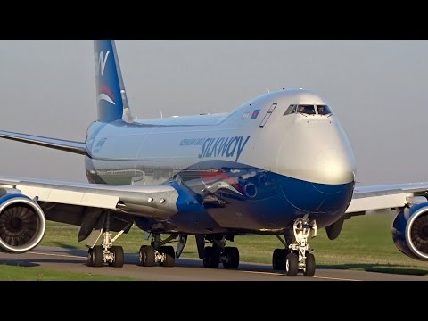 SILK WAY WEST AIRLINES | Boeing 747-800F | Close-up and Take Off | LUX Findel Airport