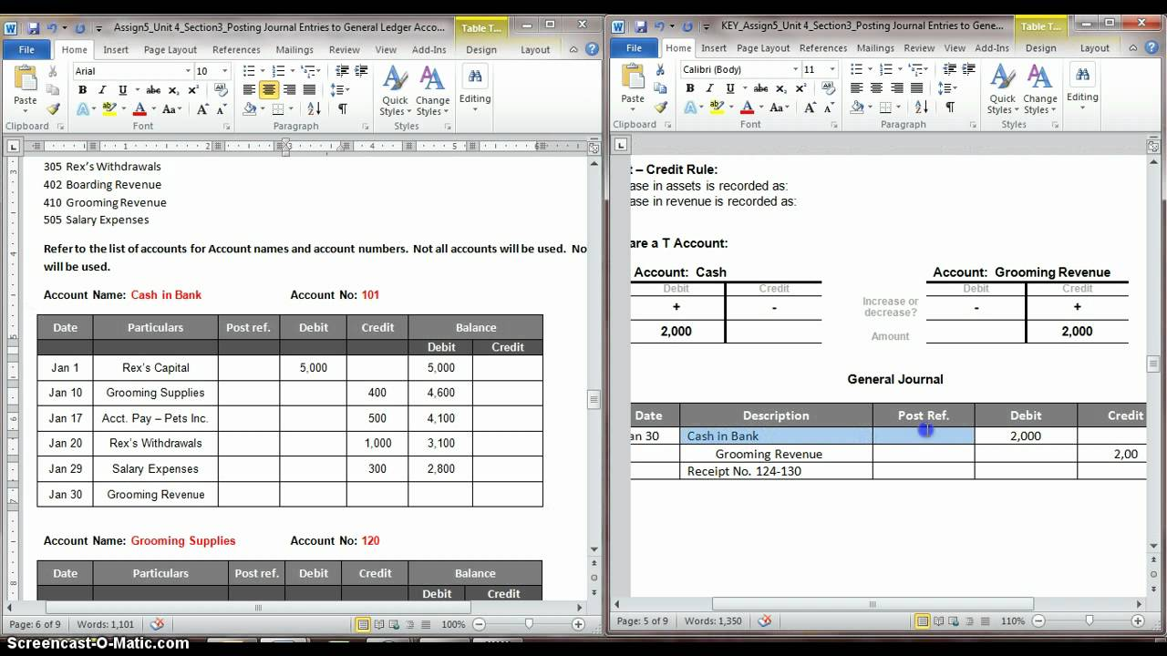 posting journal entries to general ledger account part 2 avi youtube