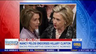 Nancy Pelosi endorses Hillary Clinton but won't say the Democratic race is over