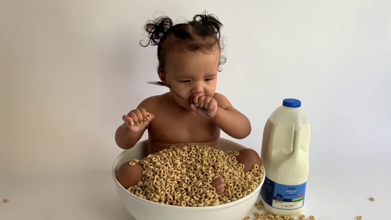 Baby eating Cheerios   When Cheerios is life - YouTube
