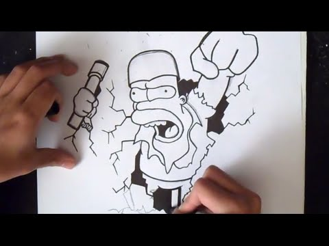 come disegnare homer simpson graffiti youtube. Black Bedroom Furniture Sets. Home Design Ideas