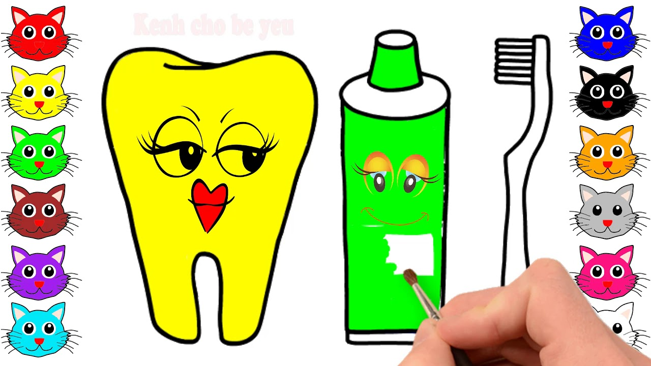 how to draw and color tooth toothpaste and toothbrush