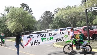 Wheelied My Dirtbike At SCHOOL For PROMPOSAL!! (Almost Looped & She said YES)
