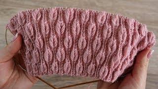 «Объёмные листики на резинке» узор спицами | «Volume leaves in rib» knitting pattern