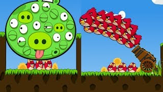 Angry Birds Cannon 3 - MAD CANNON! 100 EYES PIGS GOT SHOOTED BY OVE...