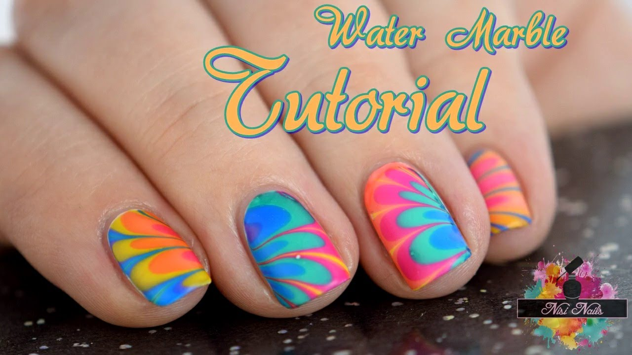 Water Marble Nail Art Tutorial: Nageldesign für kurze Nägel (deutsch ...