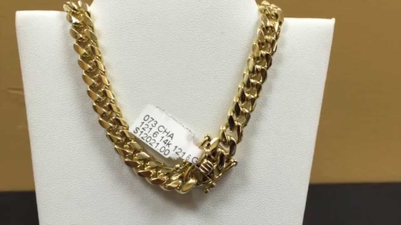 8mm 14kt solid gold Miami cuban link chain YouTube