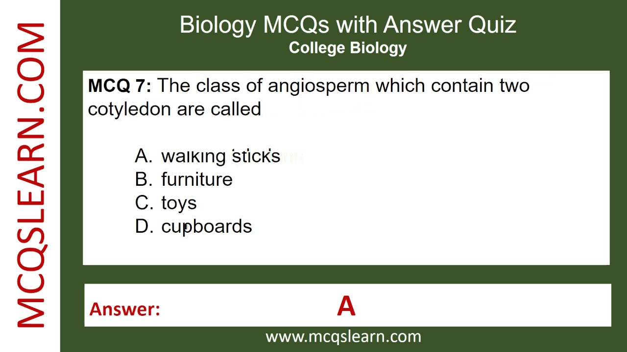 Biology MCQs with Answers - MCQsLearn Free Videos